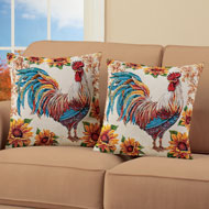 Colorful Rooster and Sunflowers Pillow Set, 2 pc - 43903