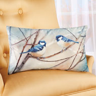 Bird Pillow with Resting Blue Chickadees - 43917