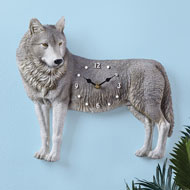 Realistic Wolf Clock with Hand Painted Details - 43933