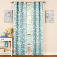 Fern Leaf and Floral Grommet Curtain Panel - 43945
