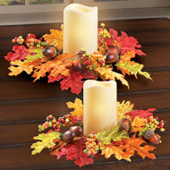 Fall Leaves Flickering LED Candle Set - 43970