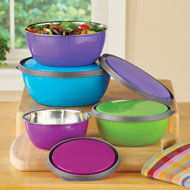 Stainless Steel Nesting Bowls with Lids - Store, Prep, Serve - 43971