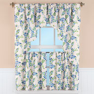 Elegant Leaf Vine Painted Look Window Curtains - 43993