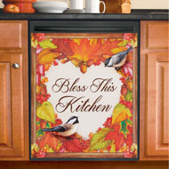 Fall Leaves Heart and Chickadees Dishwasher Magnet - 43996
