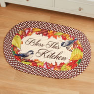 Bless this Kitchen Braided Rug with Chickadees - 43999