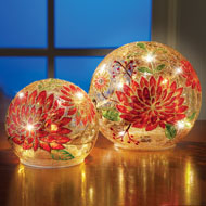 Painted Mums Lit Glass Ball Tabletop Decoration - 44003