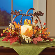 Rustic Metal Pumpkin Fall Candle Floral Centerpiece - 44006