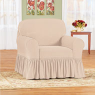 Ruffle Stretch Stain Resistant Furniture Slipcover