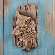 Carved Wolf Wall Art Sculpture - 44097