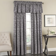 Floral Curtain Panel with Leaf Silhouette Pattern - 44099