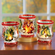 Glass Candle Holder Set with Painted Leaves, 3 pc - 44105