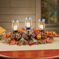 Leaves and Berries LED Candle Holders Centerpiece - 44106