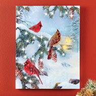 Light Up Winter Cardinals Canvas Wall Art - 44123