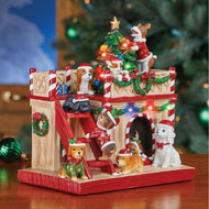 Lighted Holiday Dog House Tabletop Decoration - 44136