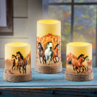Majestic Horses LED Flameless Candle Set, 3 Pc - 44138