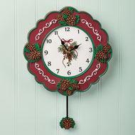 Hand Painted Christmas Wall Clock, Pinecones - 44148