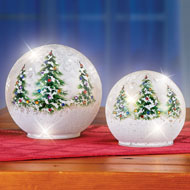 Lighted Christmas Tree Glass Ball Tabletop Décor