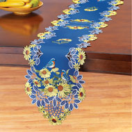 Embroidered Sunflowers and Birds Table Topper - 44160
