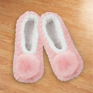 Pom Pom Fuzzy Ballet Slippers with Fleece Lining - 44176