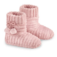 Faux Fur Slipper Booties with Fleece Lining - 44181