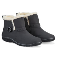 Side Button Plush Lined Boots with Zipper - 44189