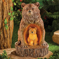 Bear and Cub Carved Look Solar Garden Decoration