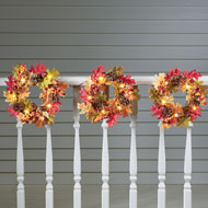 Fall Leaves Wreath Solar Garden Decoration Set, 3 Pc - 44216