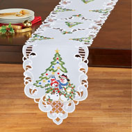 Snowman Couple Table Topper w/ Christmas Tree - 44241