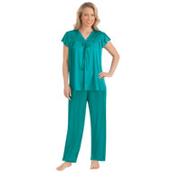 Lace Trim Tricot Silky Pajama Set - 44298