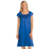 Rosette Trimmed Tricot Nightgown - 44302