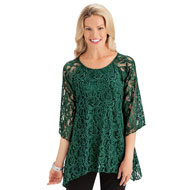Elegant 3/4 Sleeve Lace Tunic Top with Sharkbite Hem - 44318
