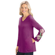 Side Pocket Tunic Top w/ Embroidered Floral Design - 44325
