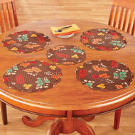 Fall Leaves Brown Round Placemat Set, 5 Pc - 44332