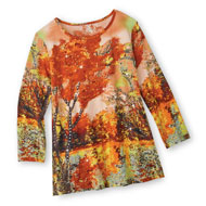 Fall Forest Top with Sequens, Three-Quarter Sleeve - 44334