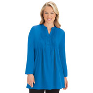 Solid Cotton Pintuck Tunic Top, Long Sleeved - 44338