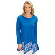 Feminine Lace Trimmed Tunic Top, Long Sleeve - 44346