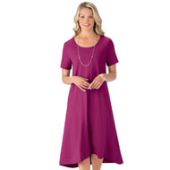 Knit Casual High-Low Dress with Scoop Neck - 44347