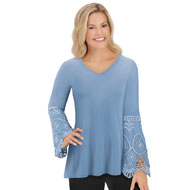 Jersey-Knit Lace & Crochet Bell Sleeved Tunic - 44348