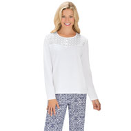 Eyelet Trimmed Pajama Pant and Top Set - 44353
