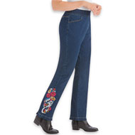 Floral Embroidered Pull-On Elastic Waist Denim Jeans - 44360