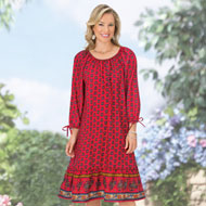 Woven Crepe Dress with Tie Sleeves - 44363