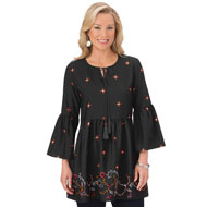 Border Print Bell Sleeve Tunic Top, Black - 44365