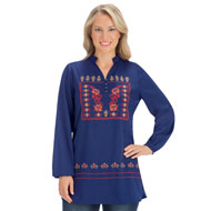 Aztec Inspired Embroidered Navy Woven Tunic Top - 44366