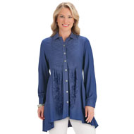 Pleated & Embroidered Button Down Tunic Top Shirt - 44368