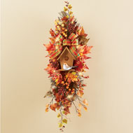 Leaves and Berries Swag with Birdhouse Fall Décor - 44399