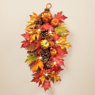 Light Up Fall Swag with Pumpkins, Berries, Gourds - 44404