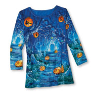 Spooky Halloween Witches and Jack-o'-Lanterns Top - 44409
