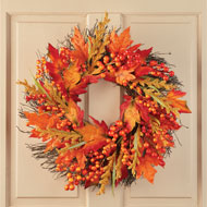 Fall Leaves and Berry Wreath Home Décor - 44415