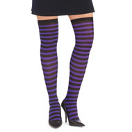 Purple and Black Striped Thigh High Tights