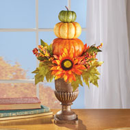 Harvest Pumpkin Topiary  Fall Tabletop Décor - 44427